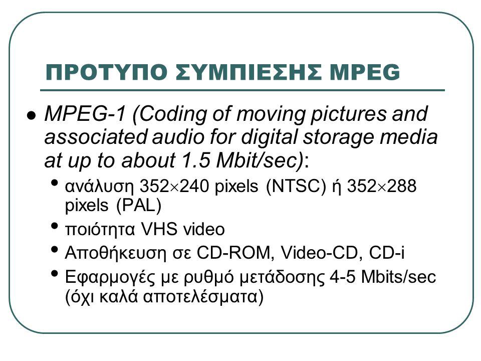 ΠΡΟΤΥΠΟ ΣΥΜΠΙΕΣΗΣ MPEG  MPEG-1 (Coding of moving pictures and associated audio for digital storage media at up to about 1.5 Mbit/sec): • ανάλυση 352