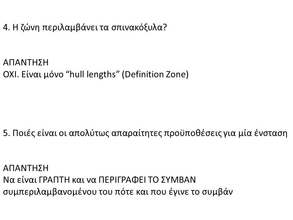 """4. Η ζώνη περιλαμβάνει τα σπινακόξυλα? ΑΠΑΝΤΗΣΗ ΟΧΙ. Είναι μόνο """"hull lengths"""" (Definition Zone) 5. Ποιές είναι οι απολύτως απαραίτητες προϋποθέσεις γ"""