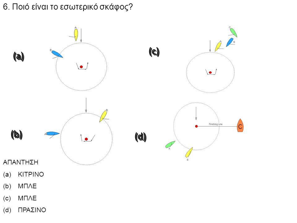 4:30 6. Ποιό είναι το εσωτερικό σκάφος? ΑΠΑΝΤΗΣΗ (a)ΚΙΤΡΙΝΟ (b)ΜΠΛΕ (c)ΜΠΛΕ (d)ΠΡΑΣΙΝΟ(b)(b) (d)(d) (a)(a) (c)(c)