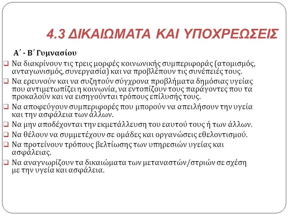4.3 ΔΙΚΑΙΩΜΑΤΑ ΚΑΙ ΥΠΟΧΡΕΩΣΕΙΣ Α΄ - Β΄ Γυμνασίου  Να διακρίνουν τις τρεις μορφές κοινωνικής συμπεριφοράς ( ατομισμός, ανταγωνισμός, συνεργασία ) και
