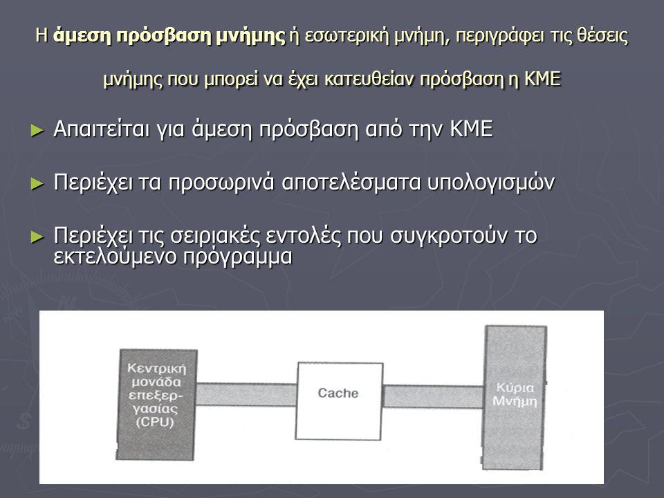 Η άμεση πρόσβαση μνήμης ή εσωτερική μνήμη, περιγράφει τις θέσεις μνήμης που μπορεί να έχει κατευθείαν πρόσβαση η ΚΜΕ ► Απαιτείται για άμεση πρόσβαση α