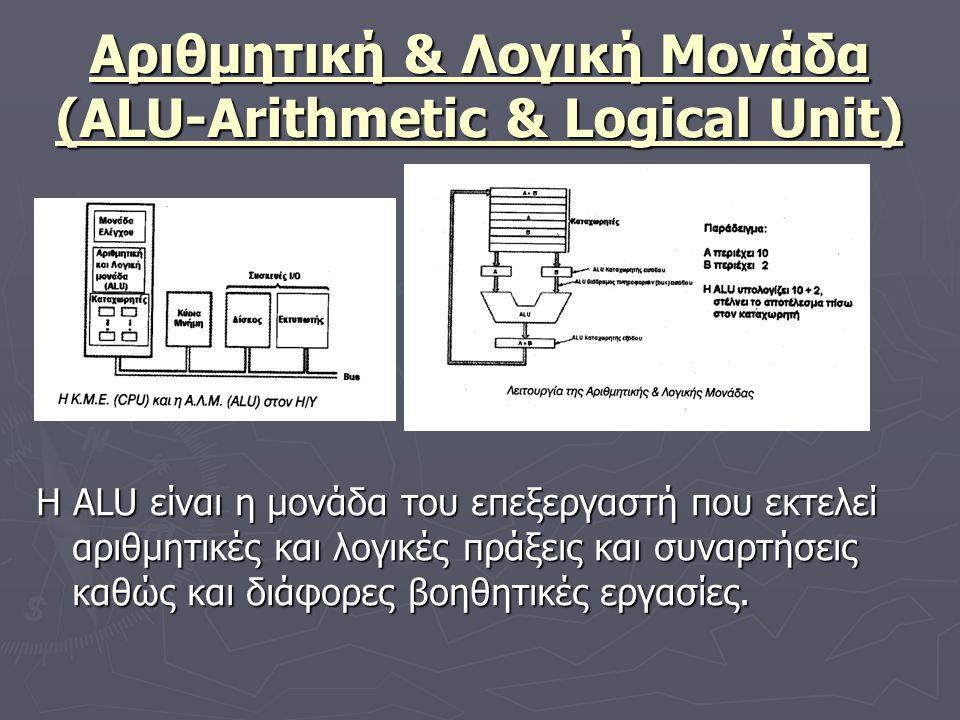 Αριθμητική & Λογική Μονάδα (ALU-Arithmetic & Logical Unit) Η ALU είναι η μονάδα του επεξεργαστή που εκτελεί αριθμητικές και λογικές πράξεις και συναρτ