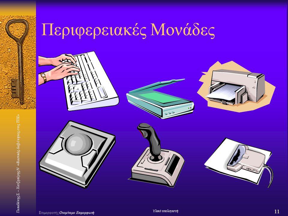 Παπαδάκης Σ. – Χατζηπέρης Ν «Βασικές Δεξιότητες στις ΤΠΕ» 11 Επιμορφωτής:Ονομ/νυμο Επιμορφωτή Υλικό υπολογιστή Περιφερειακές Μονάδες