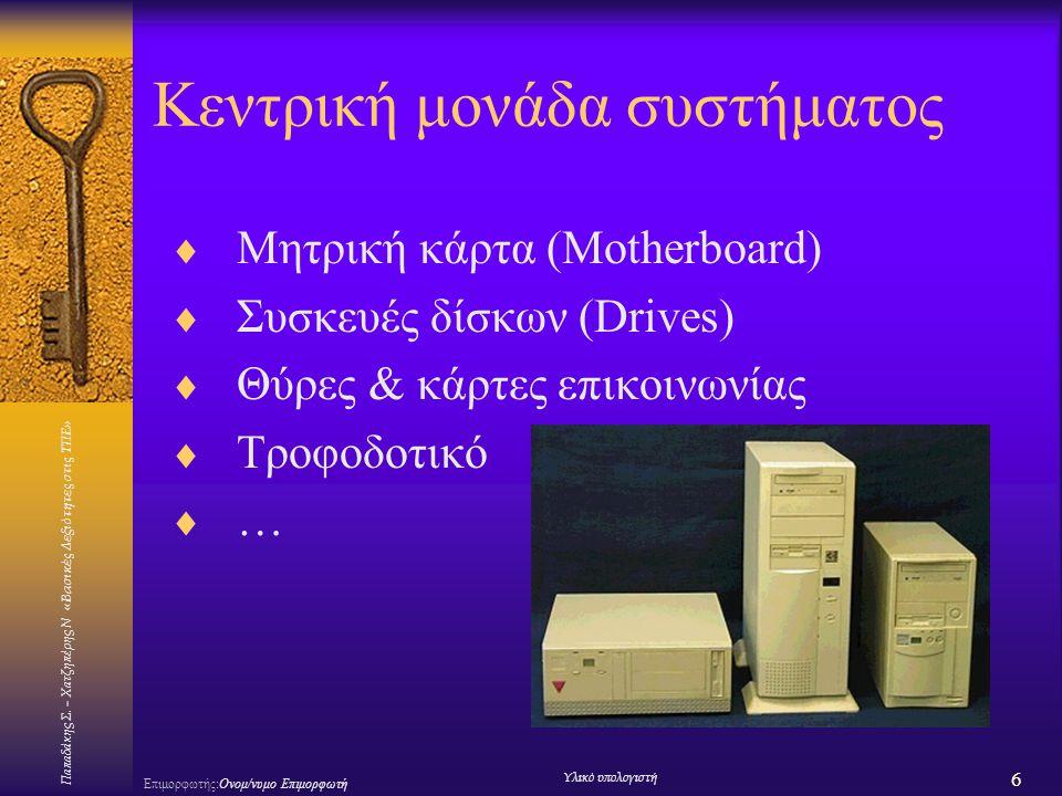 Παπαδάκης Σ. – Χατζηπέρης Ν «Βασικές Δεξιότητες στις ΤΠΕ» 6 Επιμορφωτής:Ονομ/νυμο Επιμορφωτή Υλικό υπολογιστή Κεντρική μονάδα συστήματος  Μητρική κάρ