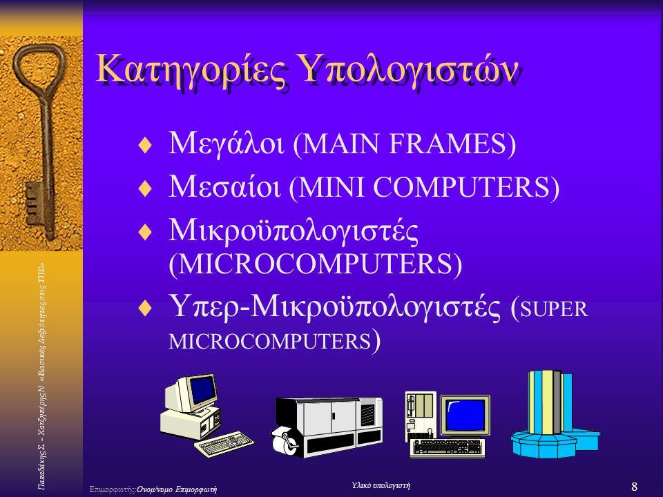 Παπαδάκης Σ. – Χατζηπέρης Ν «Βασικές Δεξιότητες στις ΤΠΕ» 8 Επιμορφωτής:Ονομ/νυμο Επιμορφωτή Υλικό υπολογιστή Κατηγορίες Υπολογιστών  Μεγάλοι (MAIN F