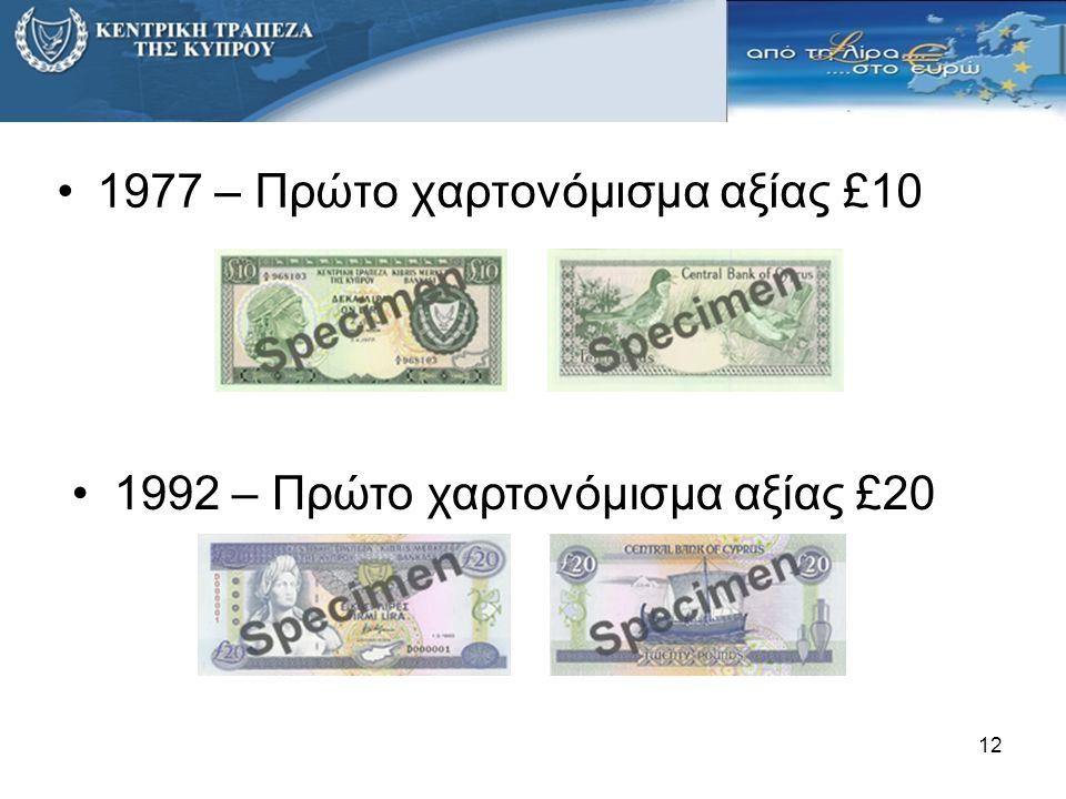 12 •1977 – Πρώτο χαρτονόμισμα αξίας £10 •1992 – Πρώτο χαρτονόμισμα αξίας £20