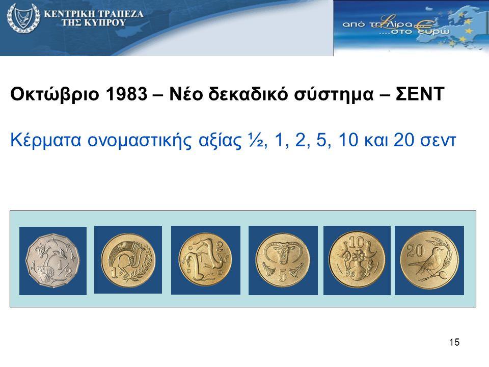 15 Οκτώβριο 1983 – Νέο δεκαδικό σύστημα – ΣΕΝΤ Κέρματα ονομαστικής αξίας ½, 1, 2, 5, 10 και 20 σεντ