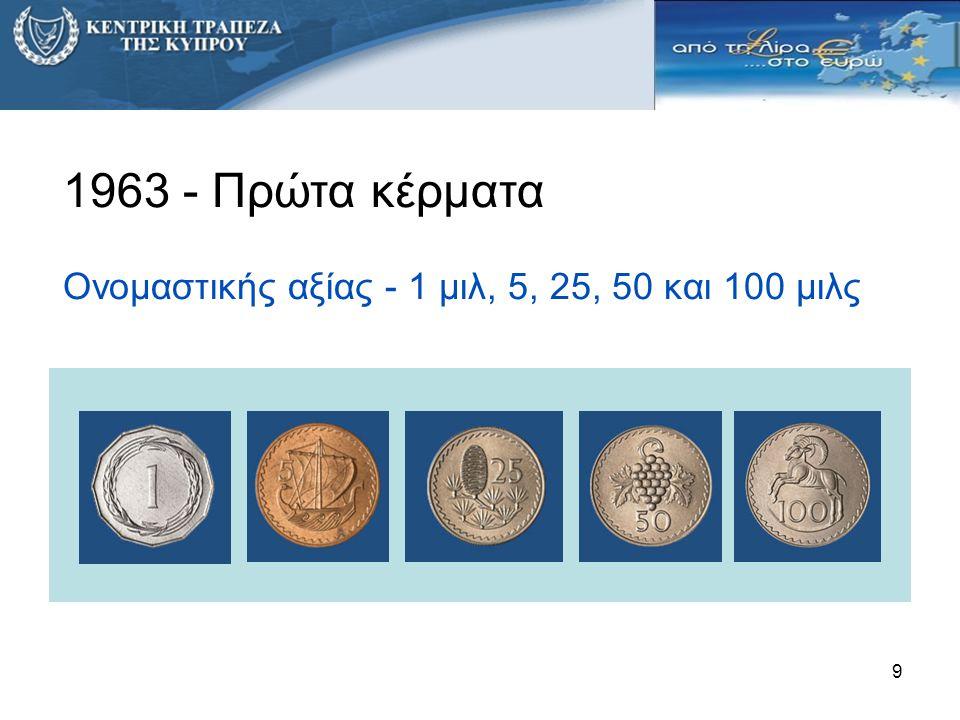 10 Αποκλειστικό δικαίωμα έκδοσης του νομίσματος Ιούνιο 1963 – Ίδρυση της Κεντρικής Τράπεζας της Κύπρου Εκδίδει: ● Χαρτονομίσματα ● Κέρματα για κυκλοφορία ● Συλλεκτικά / αναμνηστικά κέρματα
