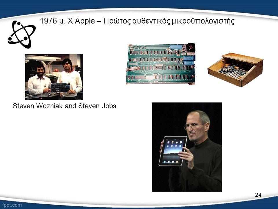 24 1976 μ. Χ Apple – Πρώτος αυθεντικός μικροϋπολογιστής Steven Wozniak and Steven Jobs