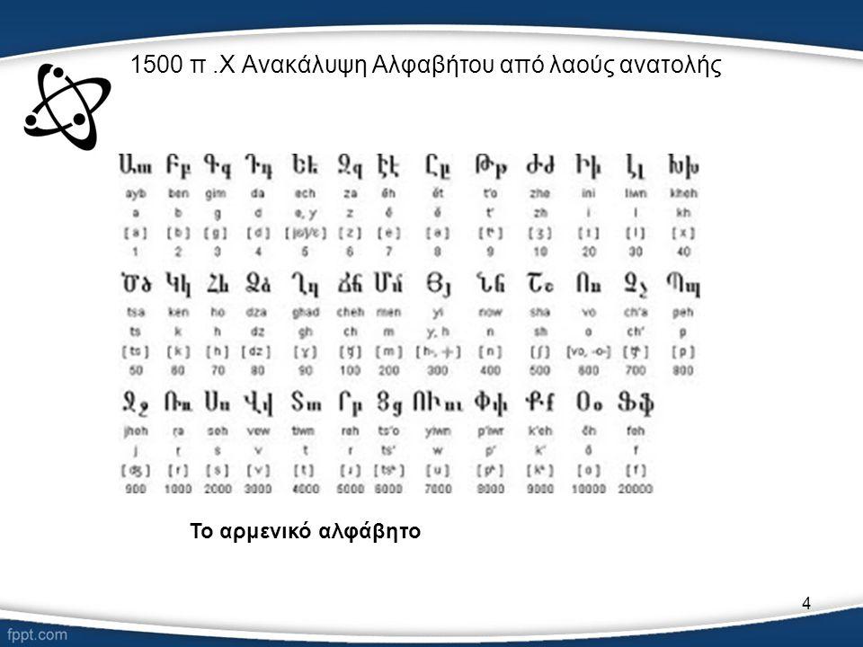 4 1500 π.Χ Ανακάλυψη Αλφαβήτου από λαούς ανατολής Το αρμενικό αλφάβητο