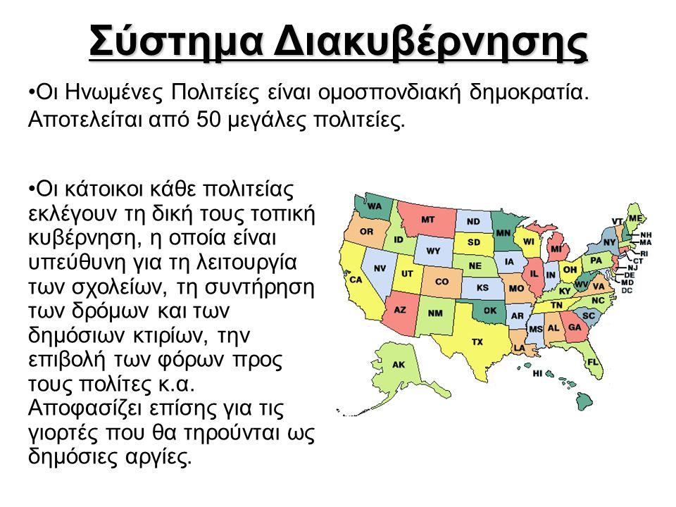 Σύστημα Διακυβέρνησης •Οι κάτοικοι κάθε πολιτείας εκλέγουν τη δική τους τοπική κυβέρνηση, η οποία είναι υπεύθυνη για τη λειτουργία των σχολείων, τη συ