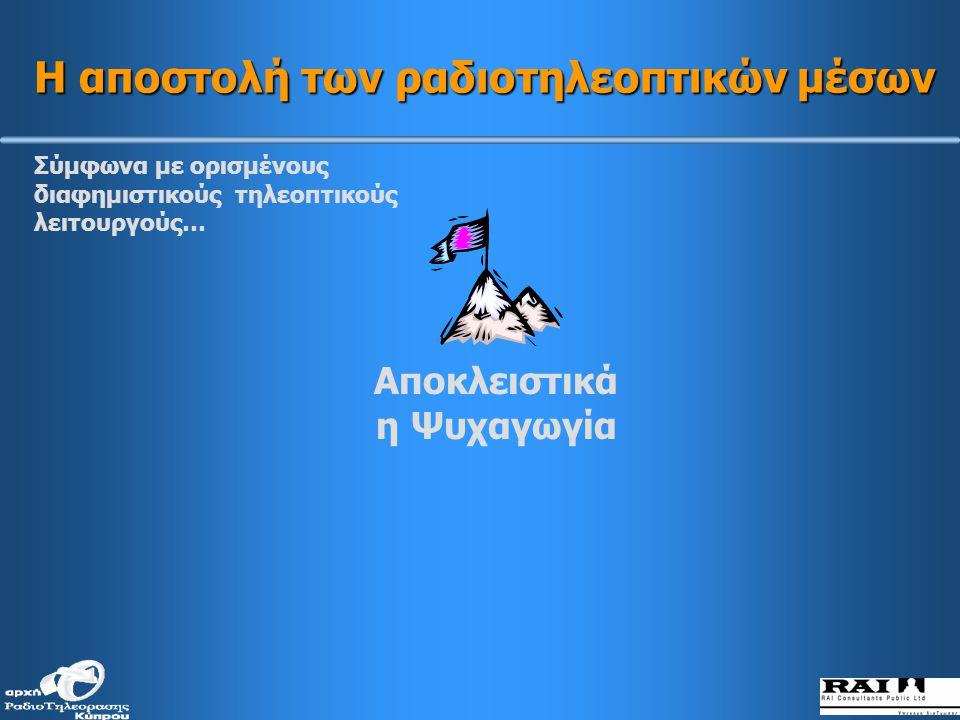 Ψυχαγωγία και σωστή πληροφόρηση / ενημέρωση Πολιτιστική ανάπτυξη Πολιτιστική παραγωγή και αναπαραγωγή ΔΗΜΟΣΙΟ ΣΥΜΦΕΡΟΝ Η αποστολή των ραδιοτηλεοπτικών μέσων