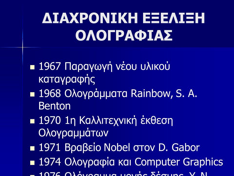 ΔΙΑΧΡΟΝΙΚΗ ΕΞΕΛΙΞΗ ΟΛΟΓΡΑΦΙΑΣ  1967 Παραγωγή νέου υλικού καταγραφής  1968 Ολογράμματα Rainbow, S. A. Benton  1970 1η Καλλιτεχνική έκθεση Ολογραμμάτ