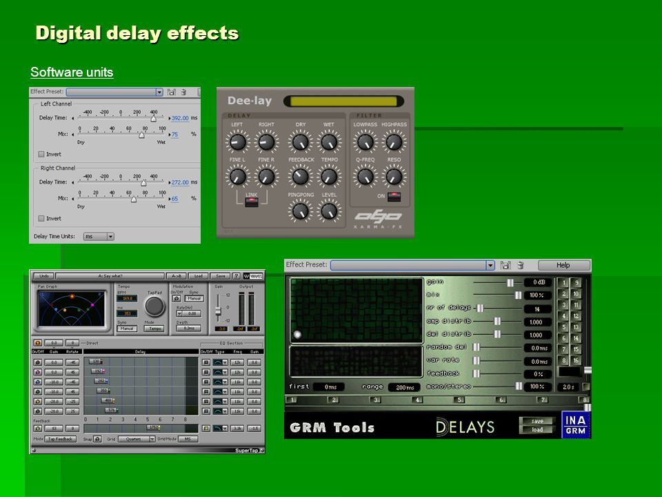 Digital delay effects Software units