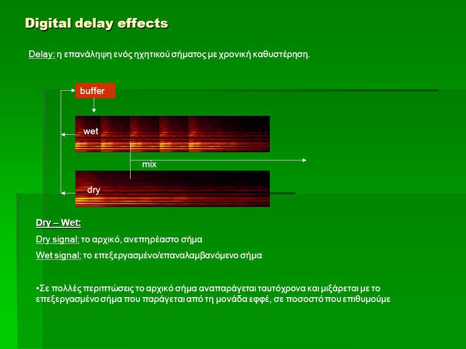 Digital delay effects Delay: η επανάληψη ενός ηχητικού σήματος με χρονική καθυστέρηση. buffer Dry – Wet: Dry signal: το αρχικό, ανεπηρέαστο σήμα Wet s