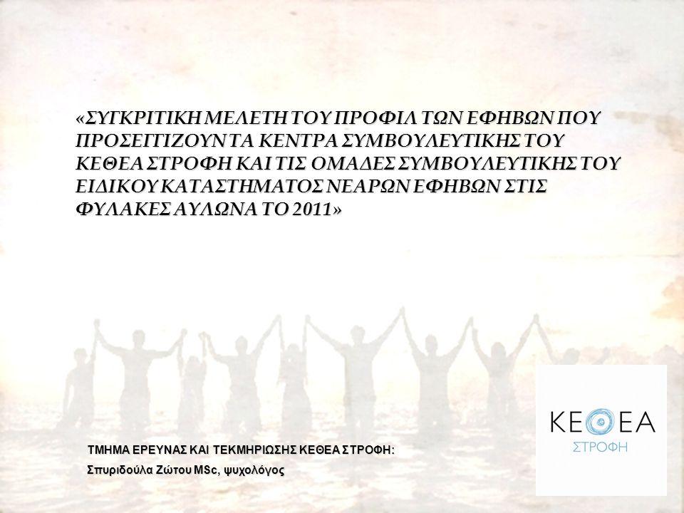 «ΣΥΓΚΡΙΤΙΚΗ ΜΕΛΕΤΗ ΤΟΥ ΠΡΟΦΙΛ ΤΩΝ ΕΦΗΒΩΝ ΠΟΥ ΠΡΟΣΕΓΓΙΖΟΥΝ ΤΑ ΚΕΝΤΡΑ ΣΥΜΒΟΥΛΕΥΤΙΚΗΣ ΤΟΥ ΚΕΘΕΑ ΣΤΡΟΦΗ ΚΑΙ ΤΙΣ ΟΜΑΔΕΣ ΣΥΜΒΟΥΛΕΥΤΙΚΗΣ ΤΟΥ ΕΙΔΙΚΟΥ ΚΑΤΑΣΤΗΜΑΤΟΣ ΝΕΑΡΩΝ ΕΦΗΒΩΝ ΣΤΙΣ ΦΥΛΑΚΕΣ ΑΥΛΩΝΑ ΤΟ 2011» ΤΜΗΜΑ ΕΡΕΥΝΑΣ ΚΑΙ ΤΕΚΜΗΡΙΩΣΗΣ ΚΕΘΕΑ ΣΤΡΟΦΗ: Σπυριδούλα Ζώτου MSc, ψυχολόγος