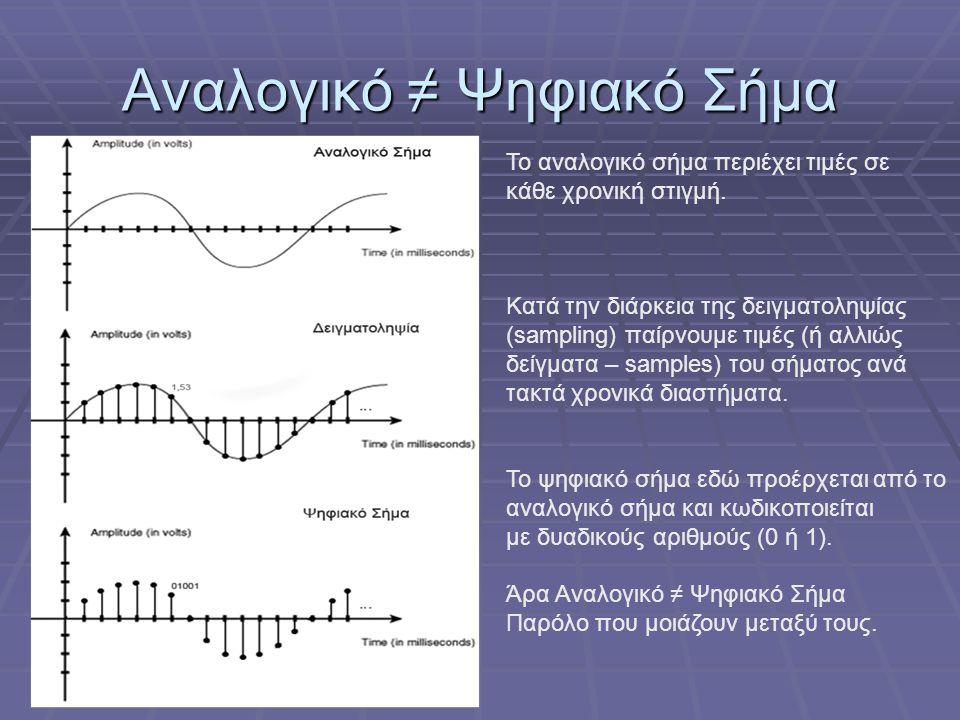 Αναλογικό ≠ Ψηφιακό Σήμα Το αναλογικό σήμα περιέχει τιμές σε κάθε χρονική στιγμή. Κατά την διάρκεια της δειγματοληψίας (sampling) παίρνουμε τιμές (ή α