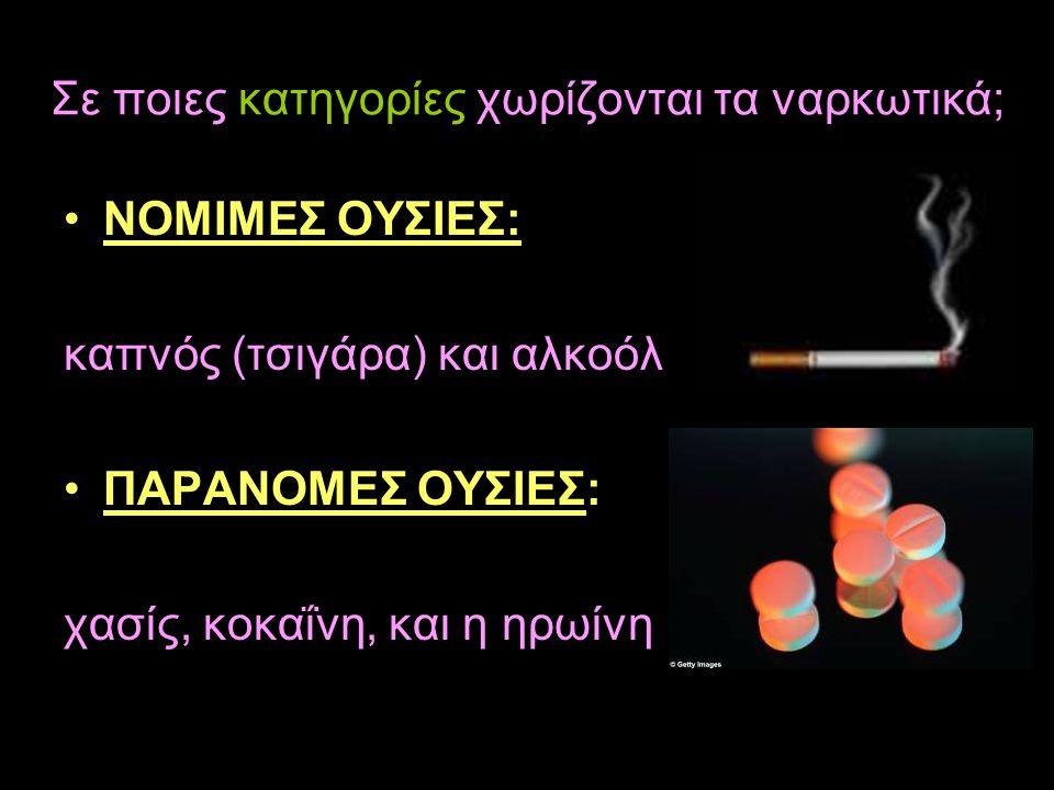 Σε ποιες κατηγορίες χωρίζονται τα ναρκωτικά; •ΝΟΜΙΜΕΣ ΟΥΣΙΕΣ: καπνός (τσιγάρα) και αλκοόλ •ΠΑΡΑΝΟΜΕΣ ΟΥΣΙΕΣ: χασίς, κοκαΐνη, και η ηρωίνη