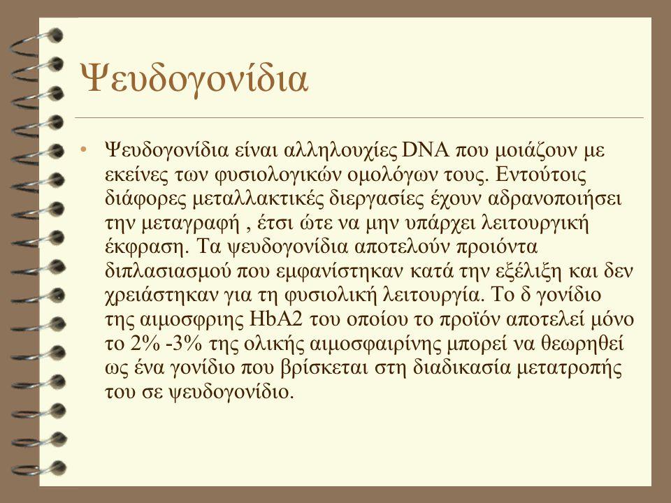 Ψευδογονίδια •Ψευδογονίδια είναι αλληλουχίες DNA που μοιάζουν με εκείνες των φυσιολογικών ομολόγων τους. Εντούτοις διάφορες μεταλλακτικές διεργασίες έ