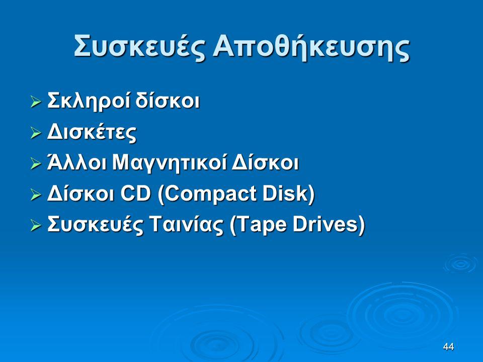 44 Συσκευές Αποθήκευσης  Σκληροί δίσκοι  Δισκέτες  Άλλοι Μαγνητικοί Δίσκοι  Δίσκοι CD (Compact Disk)  Συσκευές Ταινίας (Tape Drives)