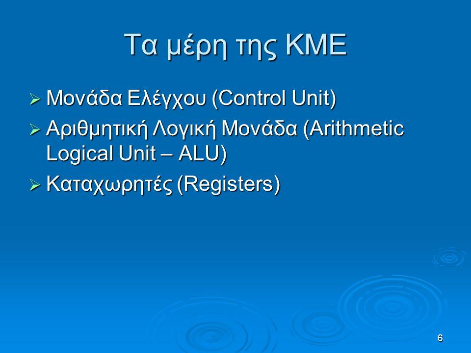 6 Τα μέρη της ΚΜΕ  Μονάδα Ελέγχου (Control Unit)  Αριθμητική Λογική Μονάδα (Arithmetic Logical Unit – ALU)  Καταχωρητές (Registers)