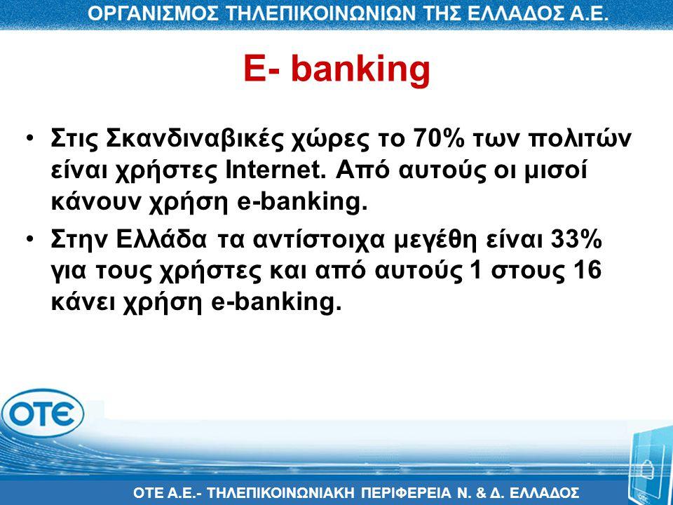ΟΤΕ Α.Ε.- ΤΗΛΕΠΙΚΟΙΝΩΝΙΑΚΗ ΠΕΡΙΦΕΡΕΙΑ Ν. & Δ. ΕΛΛΑΔΟΣ E- banking •Στις Σκανδιναβικές χώρες το 70% των πολιτών είναι χρήστες Internet. Από αυτούς οι μι