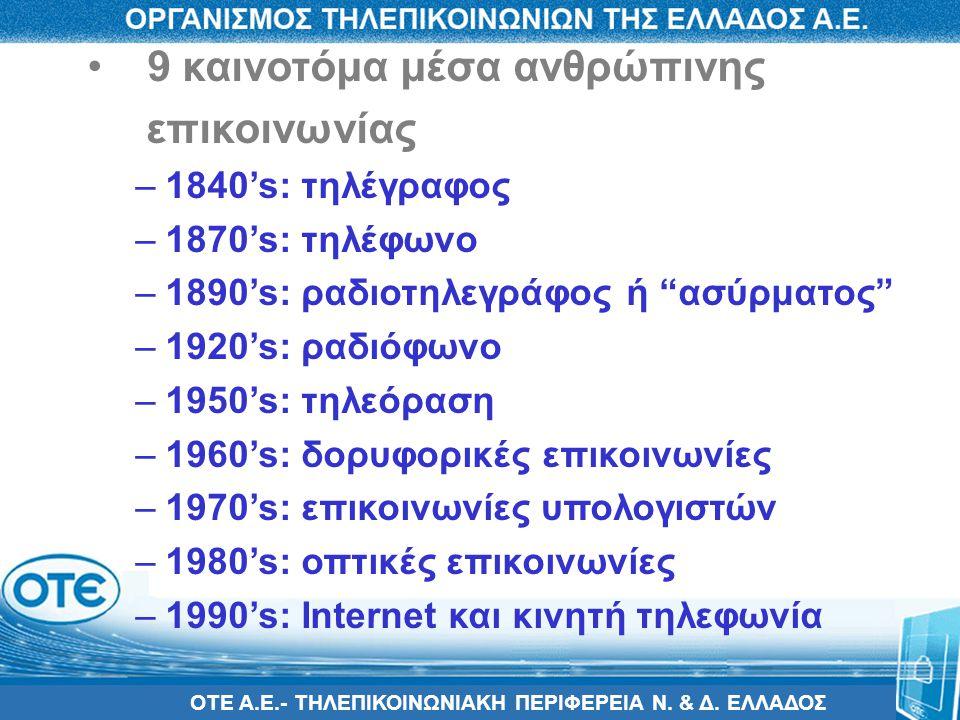 ΟΤΕ Α.Ε.- ΤΗΛΕΠΙΚΟΙΝΩΝΙΑΚΗ ΠΕΡΙΦΕΡΕΙΑ Ν. & Δ. ΕΛΛΑΔΟΣ • 9 καινοτόμα μέσα ανθρώπινης επικοινωνίας –1840's: τηλέγραφος –1870's: τηλέφωνο –1890's: ραδιοτ