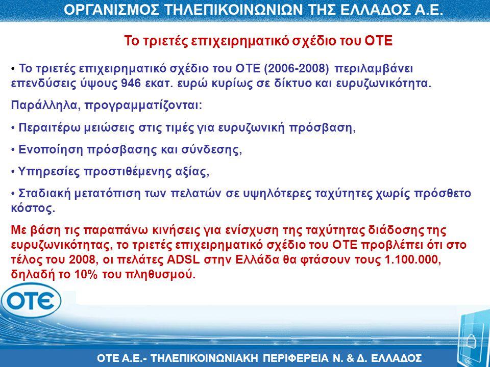 ΟΤΕ Α.Ε.- ΤΗΛΕΠΙΚΟΙΝΩΝΙΑΚΗ ΠΕΡΙΦΕΡΕΙΑ Ν. & Δ. ΕΛΛΑΔΟΣ • Το τριετές επιχειρηματικό σχέδιο του ΟΤΕ (2006-2008) περιλαμβάνει επενδύσεις ύψους 946 εκατ. ε