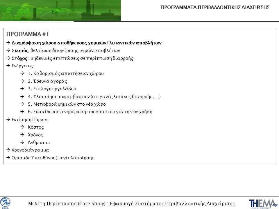 Μελέτη Περίπτωσης (Case Study) : Εφαρμογή Συστήματος Περιβαλλοντικής Διαχείρισης ΠΡΟΓΡΑΜΜΑΤΑ ΠΕΡΙΒΑΛΛΟΝΤΙΚΗΣ ΔΙΑΧΕΙΡΙΣΗΣ ΠΡΟΓΡΑΜΜΑ #1  Διαμόρφωση χώρ