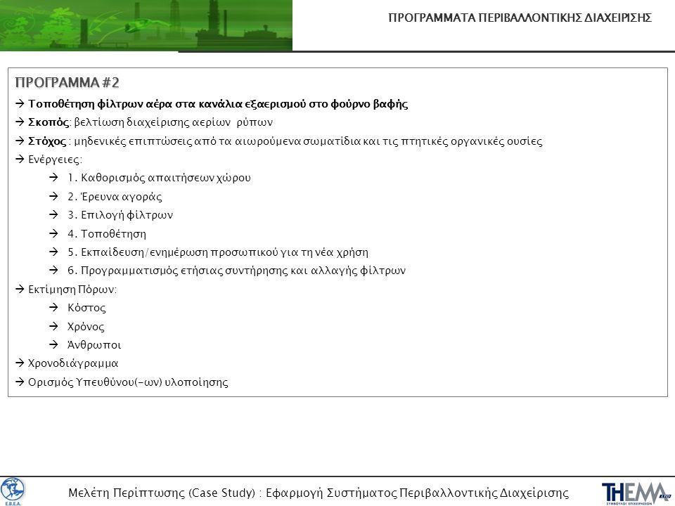 Μελέτη Περίπτωσης (Case Study) : Εφαρμογή Συστήματος Περιβαλλοντικής Διαχείρισης ΠΡΟΓΡΑΜΜΑΤΑ ΠΕΡΙΒΑΛΛΟΝΤΙΚΗΣ ΔΙΑΧΕΙΡΙΣΗΣ ΠΡΟΓΡΑΜΜΑ #2  Τοποθέτηση φίλ