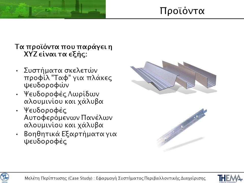 Μελέτη Περίπτωσης (Case Study) : Εφαρμογή Συστήματος Περιβαλλοντικής Διαχείρισης Προμήθειες Συντήρηση Πωλήσεις Παραγωγή Διοίκηση Άχρηστη γραφική ύλη Απόβλητος ηλεκτρονικός εξοπλισμός (Η/Υ κλπ) Απόβλητα λιπαντικά Άχρηστα εξαρτήματα παραγωγής (μεταλλικά απόβλητα) Άχρηστες Μπαταρίες Ηλεκτροκίνητων Κλαρκ Κατανάλωση Ηλεκτρικής Ενέργειας Κατανάλωση καυσίμων Επιχειρησιακές Διεργασίες