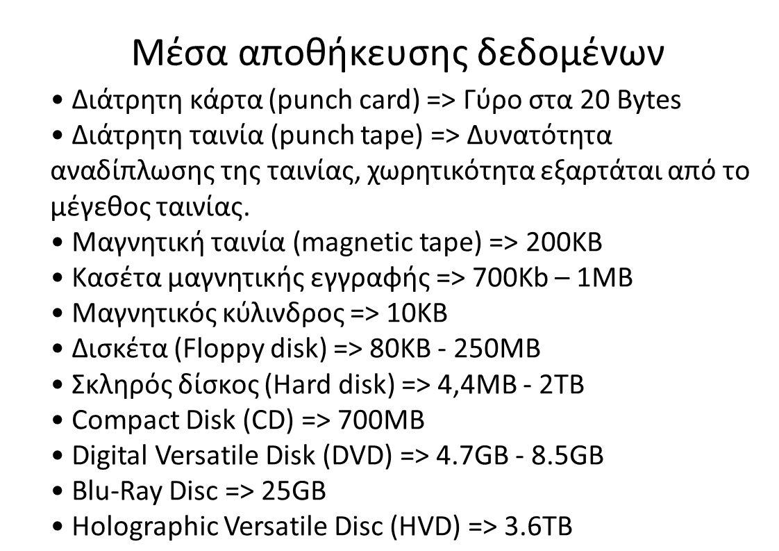 • Διάτρητη κάρτα (punch card) => Γύρο στα 20 Bytes • Διάτρητη ταινία (punch tape) => Δυνατότητα αναδίπλωσης της ταινίας, χωρητικότητα εξαρτάται από το μέγεθος ταινίας.