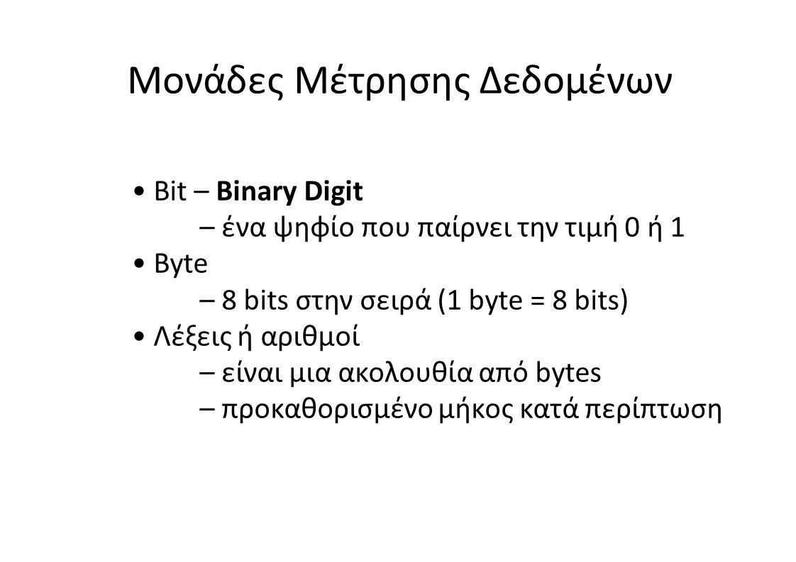 • Bit – Binary Digit – ένα ψηφίο που παίρνει την τιμή 0 ή 1 • Byte – 8 bits στην σειρά (1 byte = 8 bits) • Λέξεις ή αριθμοί – είναι μια ακολουθία από bytes – προκαθορισμένο μήκος κατά περίπτωση Μονάδες Μέτρησης Δεδομένων