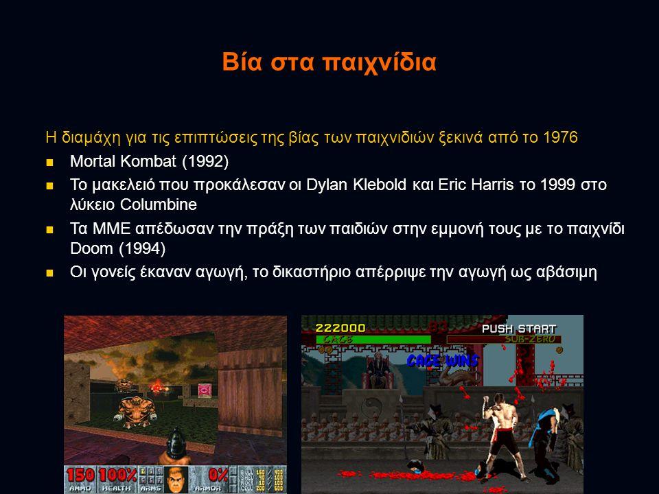 Βία στα παιχνίδια Η διαμάχη για τις επιπτώσεις της βίας των παιχνιδιών ξεκινά από το 1976  Mortal Kombat (1992)  Το μακελειό που προκάλεσαν οι Dylan