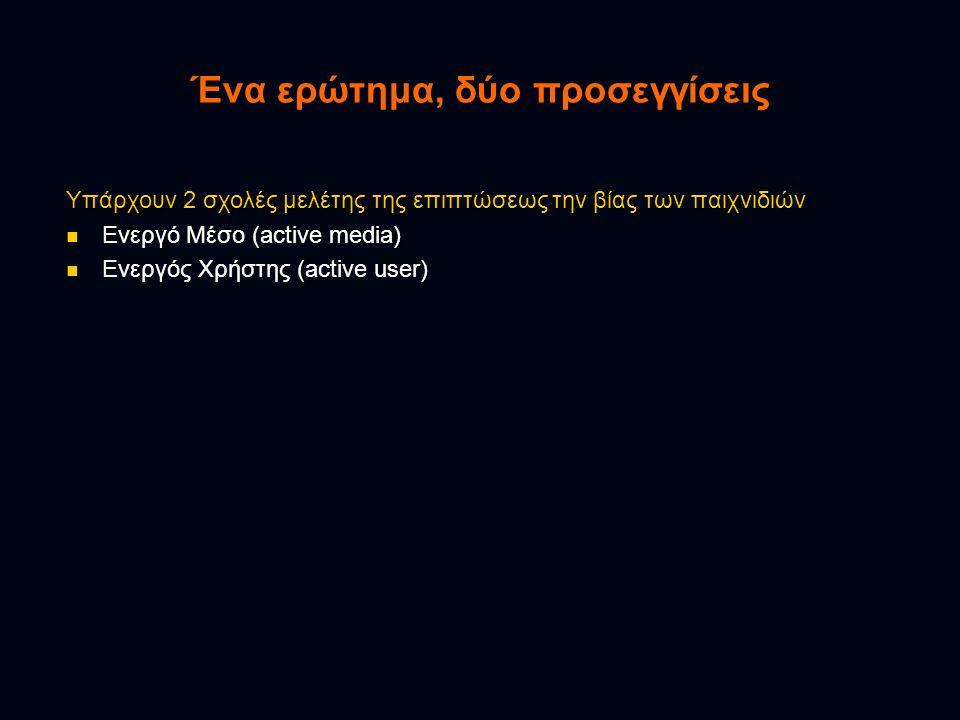 Ένα ερώτημα, δύο προσεγγίσεις Υπάρχουν 2 σχολές μελέτης της επιπτώσεως την βίας των παιχνιδιών  Ενεργό Μέσο (active media)  Ενεργός Χρήστης (active