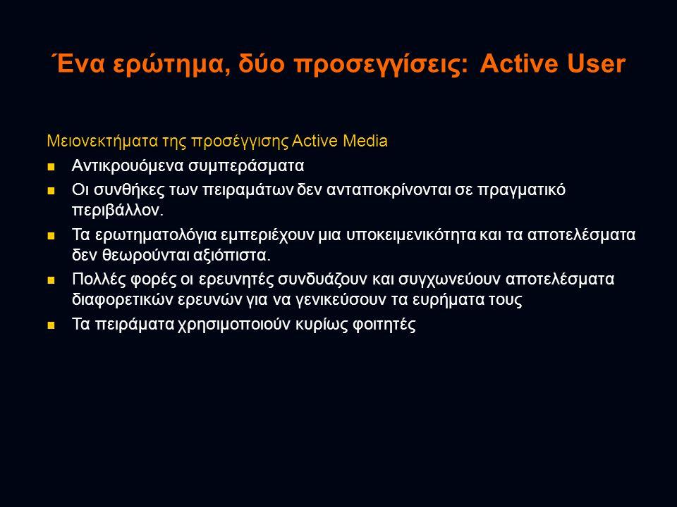 Ένα ερώτημα, δύο προσεγγίσεις: Active User Μειονεκτήματα της προσέγγισης Active Media  Αντικρουόμενα συμπεράσματα  Οι συνθήκες των πειραμάτων δεν αν