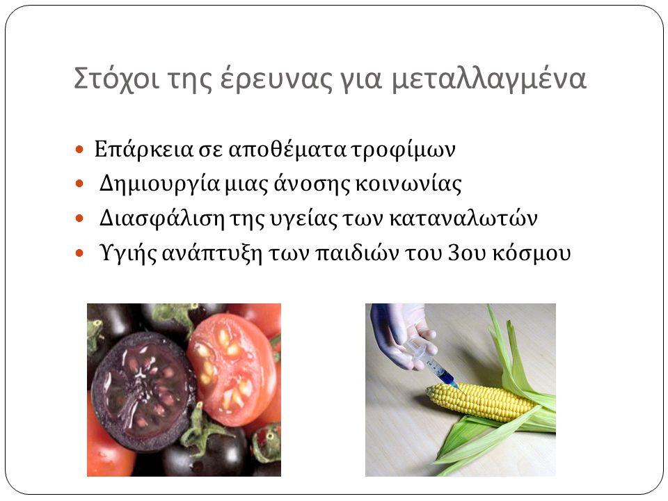 Στόχοι της έρευνας για μεταλλαγμένα  Επάρκεια σε αποθέματα τροφίμων  Δημιουργία μιας άνοσης κοινωνίας  Διασφάλιση της υγείας των καταναλωτών  Υγιή
