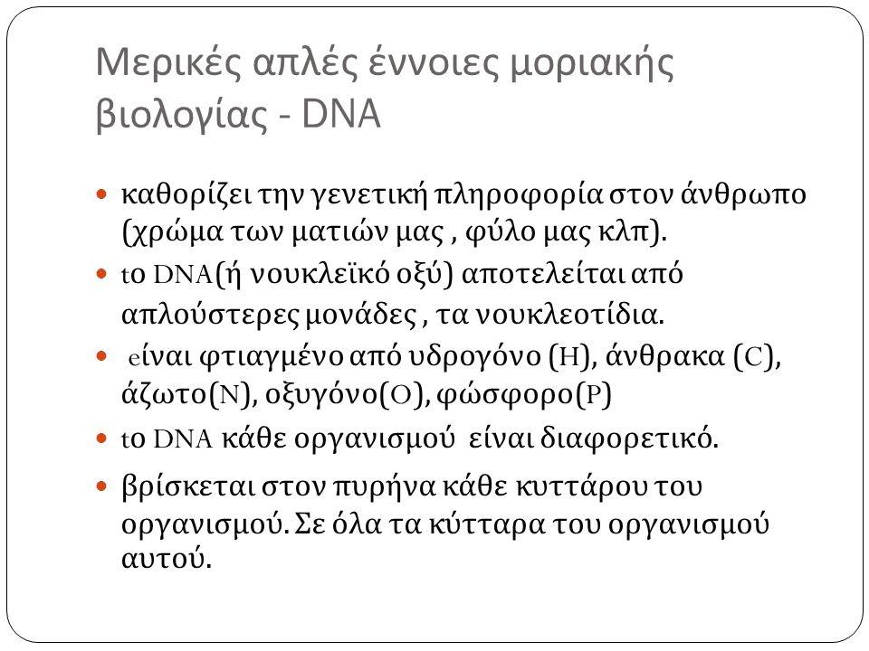 Μερικές απλές έννοιες μοριακής βιολογίας - DNA  καθορίζει την γενετική πληροφορία στον άνθρωπο ( χρώμα των ματιών μας, φύλο μας κλπ ).  t ο DNA( ή ν