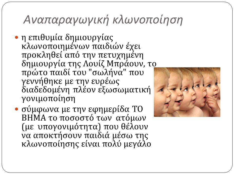 Αναπαραγωγική κλωνοποίηση  η επιθυμία δημιουργίας κλωνοποιημένων παιδιών έχει προκληθεί από την πετυχημένη δημιουργία της Λουίζ Μπράουν, το πρώτο παι