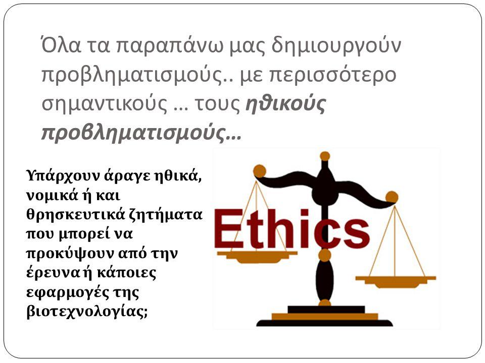 Όλα τα παραπάνω μας δημιουργούν προβληματισμούς.. με περισσότερο σημαντικούς … τους ηθικούς προβληματισμούς … Υπάρχουν άραγε ηθικά, νομικά ή και θρησκ