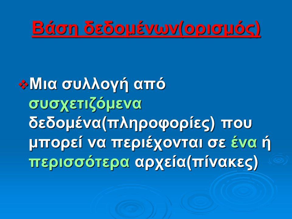 Μάθημα 1 (στόχοι)  Βάση δεδομένων(ορισμός)  Παραδείγματα βάσεων δεδομένων  Συνήθεις επεξεργασίες σε αρχεία βάσεων δεδομένων  Επεξεργασία αρχείων ή
