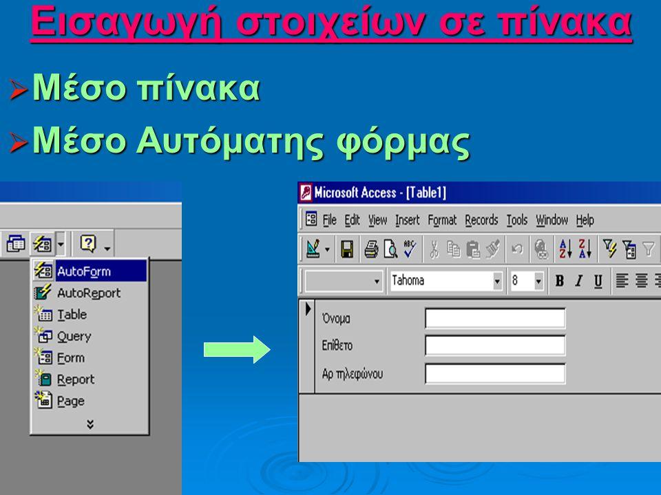 Αποθήκευση πίνακα  File-Save as-Όνομα Πίνακα File-Save as-Όνομα Πίνακα File-Save as-Όνομα Πίνακα