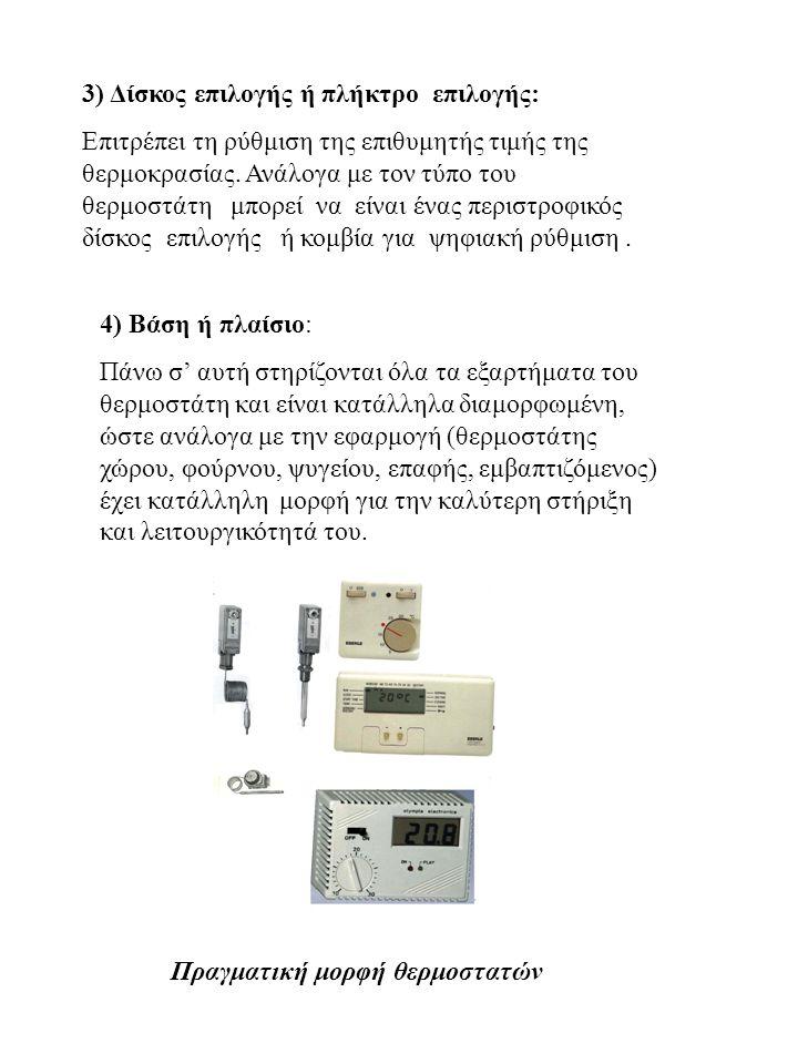 Πραγματική μορφή θερμοστατών 3) Δίσκος επιλογής ή πλήκτρο επιλογής: Επιτρέπει τη ρύθμιση της επιθυμητής τιμής της θερμοκρασίας. Ανάλογα με τον τύπο το