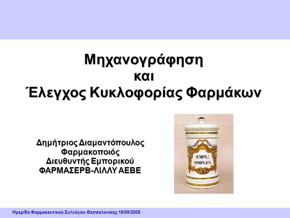 Ημερίδα Φαρμακευτικού Συλλόγου Θεσσαλονίκης 16/05/2005 Περιγραφή/ Ανάπτυξη Συστήματος Ο πλέον κοινός τύπος Γραμμωτού Κώδικα είναι ο ΕΑΝ – 13 ( European Article Numbering ) : • Ο τύπος αυτός αποτελείται από αριθμοσειρά 13 ψηφίων και έχει εφαρμογή στα περισσότερα καταναλωτικά είδη • Αποτελείται από το πρόθεμα του ΕΛΚΕΣΗΠ για τα φάρμακα που είναι ο αριθμός 280 • Τον 9ψήφιο Κωδικό του ΕΟΦ για το προϊόν και • το ψηφίο Ελέγχου Συστήματα Κωδικοποίησης Υλικών :