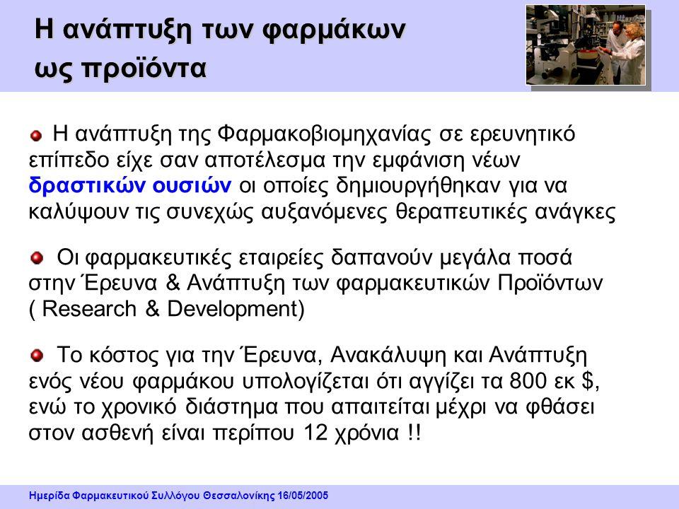 Ημερίδα Φαρμακευτικού Συλλόγου Θεσσαλονίκης 16/05/2005 Η ανάπτυξη των φαρμάκων ως προϊόντα Η ανάπτυξη της Φαρμακοβιομηχανίας σε ερευνητικό επίπεδο είχε σαν αποτέλεσμα την εμφάνιση νέων δραστικών ουσιών οι οποίες δημιουργήθηκαν για να καλύψουν τις συνεχώς αυξανόμενες θεραπευτικές ανάγκες Οι φαρμακευτικές εταιρείες δαπανούν μεγάλα ποσά στην Έρευνα & Ανάπτυξη των φαρμακευτικών Προϊόντων ( Research & Development) Το κόστος για την Έρευνα, Ανακάλυψη και Ανάπτυξη ενός νέου φαρμάκου υπολογίζεται ότι αγγίζει τα 800 εκ $, ενώ το χρονικό διάστημα που απαιτείται μέχρι να φθάσει στον ασθενή είναι περίπου 12 χρόνια !!