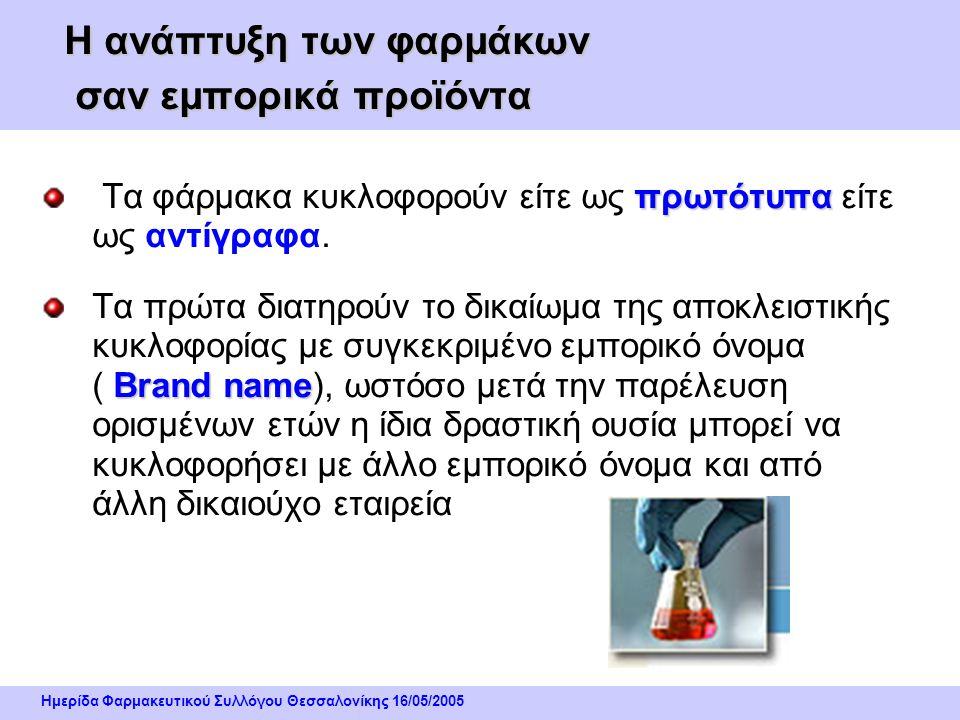Ημερίδα Φαρμακευτικού Συλλόγου Θεσσαλονίκης 16/05/2005 Η ανάπτυξη των φαρμάκων σαν εμπορικά προϊόντα πρωτότυπα Τα φάρμακα κυκλοφορούν είτε ως πρωτότυπα είτε ως αντίγραφα.
