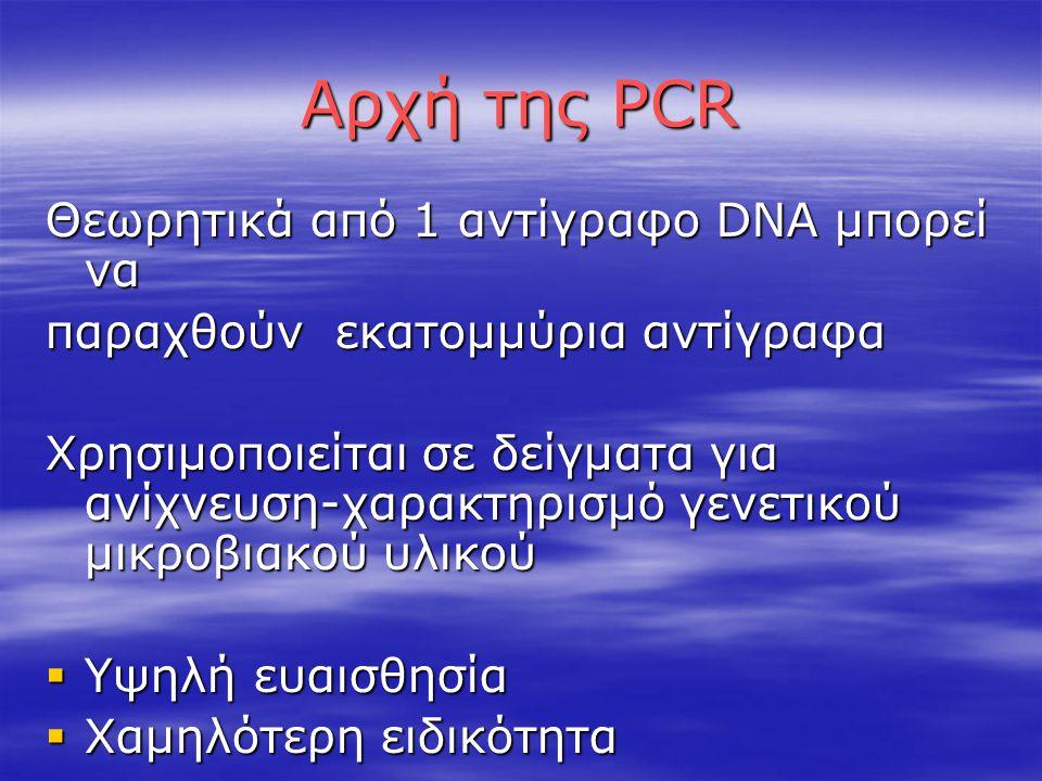 Αρχή της PCR Θεωρητικά από 1 αντίγραφο DNA μπορεί να παραχθούν εκατομμύρια αντίγραφα Χρησιμοποιείται σε δείγματα για ανίχνευση-χαρακτηρισμό γενετικού