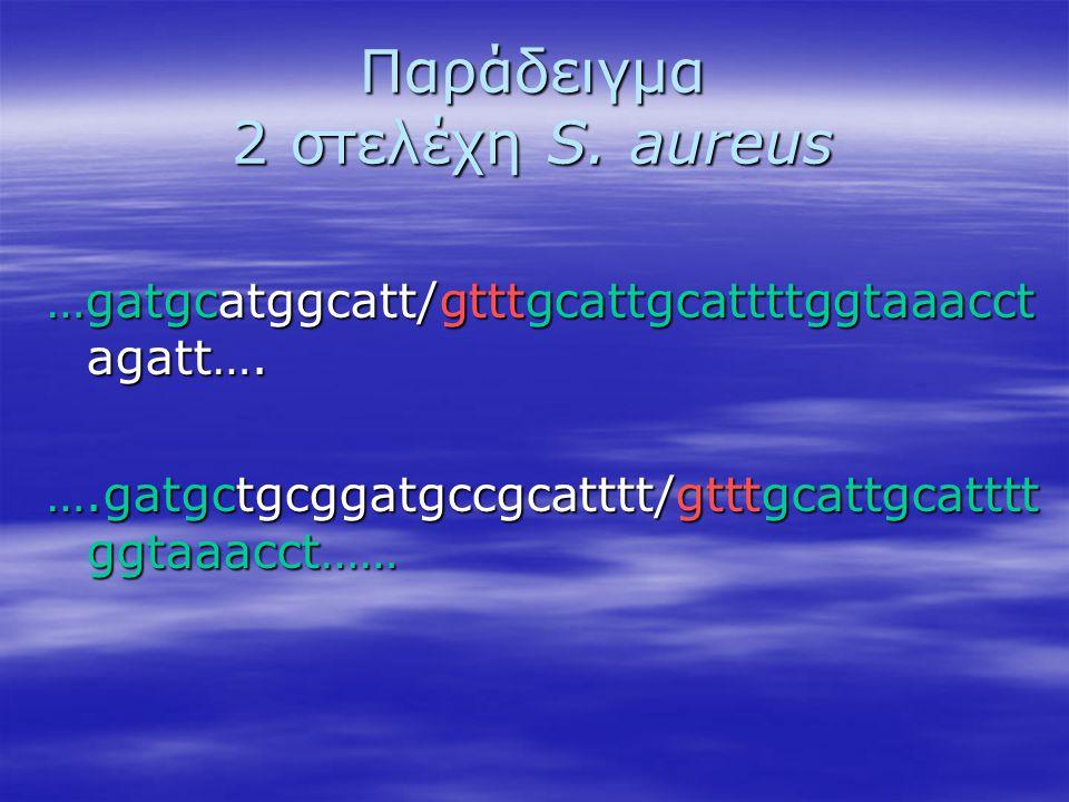Παράδειγμα 2 στελέχη S. aureus …gatgcatggcatt/gtttgcattgcattttggtaaacct agatt…. ….gatgctgcggatgccgcatttt/gtttgcattgcatttt ggtaaacct……