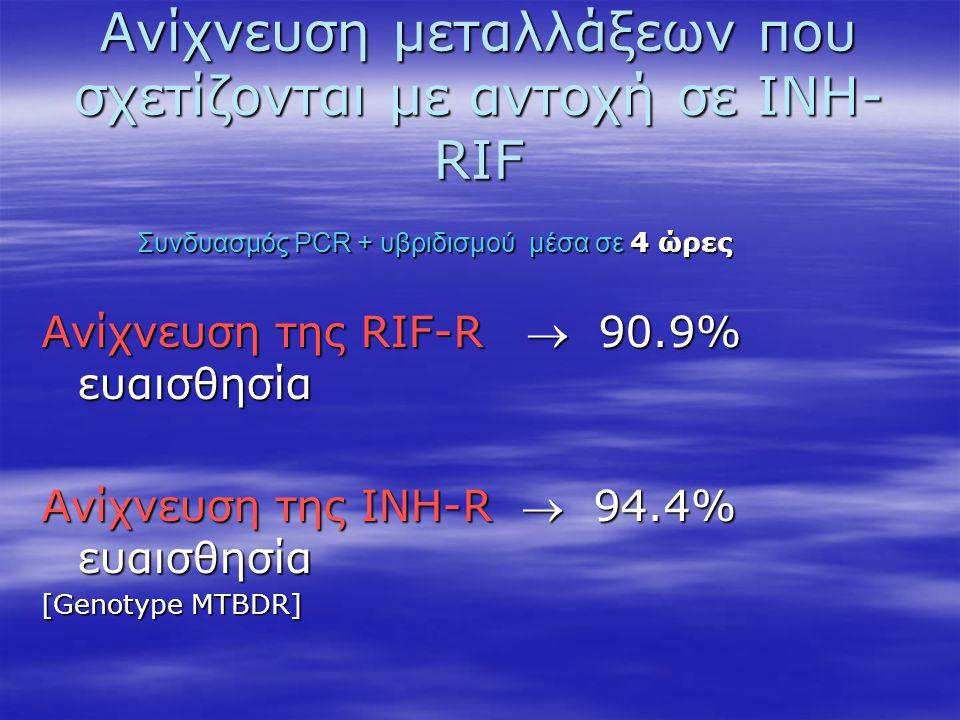 Ανίχνευση μεταλλάξεων που σχετίζονται με αντοχή σε ΙΝΗ- RIF Ανίχνευση της RIF-R  90.9% ευαισθησία Ανίχνευση της INH-R  94.4% ευαισθησία [Genotype MT