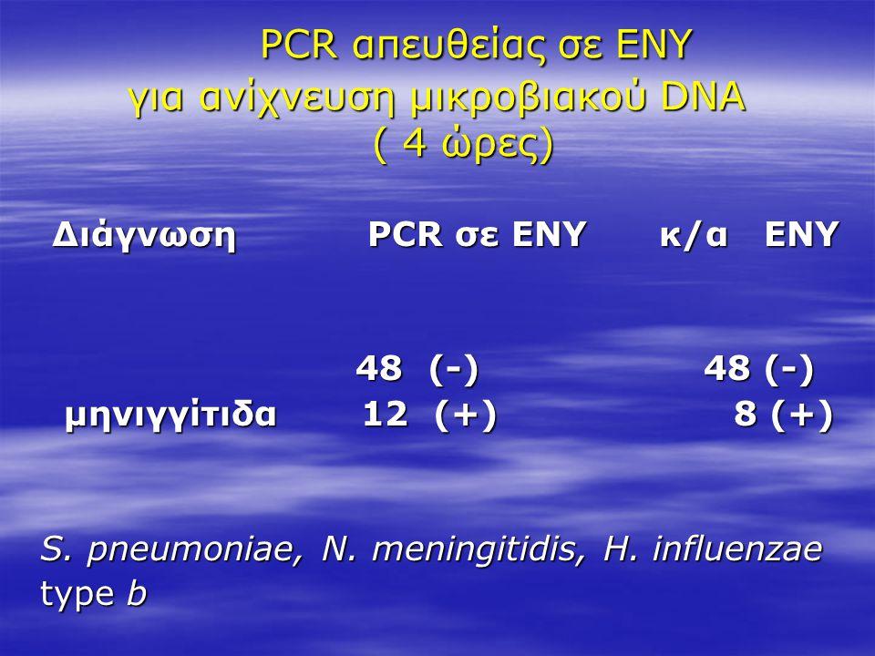 PCR απευθείας σε ΕΝΥ για ανίχνευση μικροβιακού DNA ( 4 ώρες) PCR απευθείας σε ΕΝΥ για ανίχνευση μικροβιακού DNA ( 4 ώρες) Διάγνωση PCR σε ΕΝΥ κ/α ΕΝΥ
